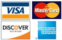 Visa, MasterCard, Discover, American Express. We accept major credit cards.