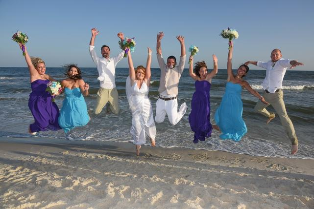 jumping for joy beach wedding orange beach al