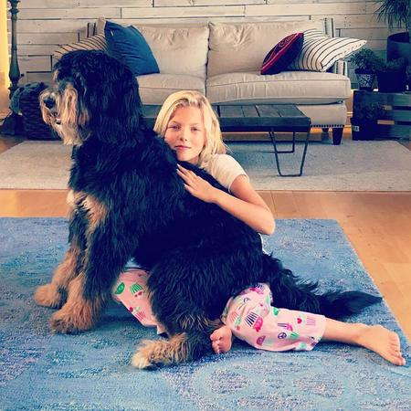 Phantom bernedoodle with kids