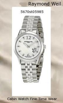 Product Specifications Watch Information Brand, Seller, or Collection Name Raymond Weil Model number 5670-ST-05985 Part Number 5670-ST-05985 Model Year 2011 Item Shape Round Dial window material type Anti reflective sapphire Display Type Analog Clasp Deployment clasp with push-button Case material Stainless steel Case diameter 29 millimeters Case Thickness 7 millimeters Band Material Stainless steel Band length Women's Standard Band width 15 millimeters Band Color Silver Dial color Mother of pearl Bezel material Stainless steel Bezel function Stationary Item weight 2.40 Ounces Movement Swiss Quartz Water resistant depth 330 Feet