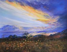 Sunset Bouquet, pastel skyscape by Lindy C Severns, Alpine TX Twin Peaks