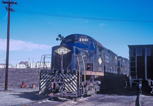 Piedmont & Northern Alco C-420 at Spartanburg, South Carolina in February of 1968. A Roger Puta Photograph.