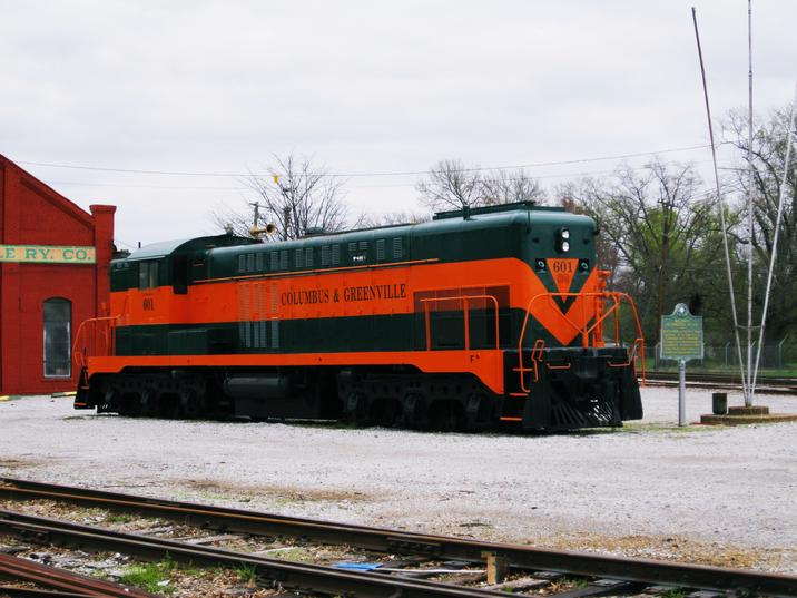 CAGY No. 601 on display at the Columbus and Greenville Railroad Roundhouse in Columbus, Mississippi.