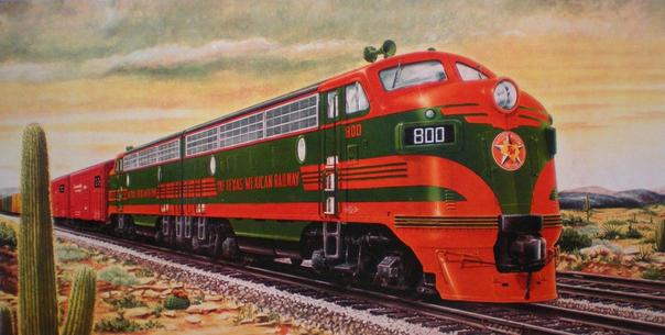 Builder's portrait of the Texas-Mexican's GM EMD F7 diesel locomotives. The Tex-Mex was the first Class I railroad to completely dieselize.