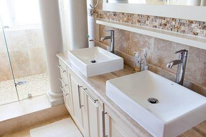Master Bathroom Double Sinks With Chrome Faucets