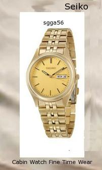 Watch Information Brand, Seller, or Collection Name Seiko Watches Model number SGGA56 Part Number SGGA56 Item Shape Round Dial window material type Hardlex Display Type Analog Clasp Fold-Over Clasp with Double Push-Button Safety Case material Gold-tone stainless steel Case diameter 36.5 millimeters Case Thickness 8.3 millimeters Band Material Gold-tone stainless steel Band length Men's Standard Band width 19 millimeters Band Color Gold Dial color champagne Bezel material Gold-tone stainless steel Bezel function Stationary Calendar Day and date Special features Water Resistant, Date Item weight 16 Ounces Movement Japanese quartz Water resistant depth 99 Feet