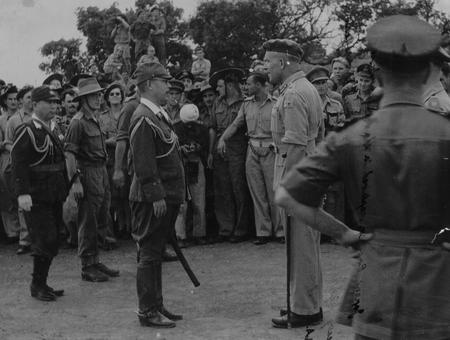 Japanese surrender in Rangoon in May 1945 during WW2