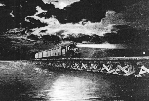 Norfolk Southern Railroad passenger train crosses the Albemarle Sound in 1918.