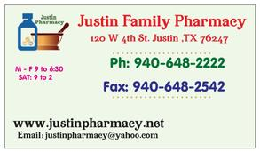 justin pharmacy contact vcard