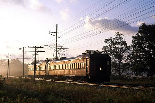 A Pullman Company electric interurban unit heading west toward Michigan City on the South Shore Line in 1980.