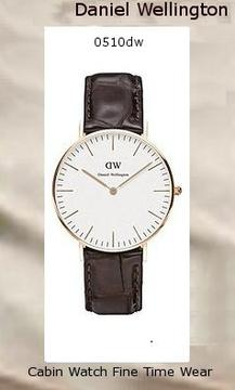 Product Specifications Watch Information Brand, Seller, or Collection Name Daniel Wellington Model number 0510DW Part Number DW00100038 Model Year 2014 Item Shape Round Dial window material type Mineral Display Type Analog Clasp Buckle Metal stamp Stainless steel Case material Rose Gold Case diameter 36 millimeters Case Thickness 6 millimeters Band Material Crocodile leather Band length Women's Standard Band width 18 millimeters Band Color Brown Dial color White Bezel material Rose Gold Bezel function Stationary Special features measures-seconds Item weight 2.40 Ounces Movement Quartz Water resistant depth 99 Feet,daniel wellington
