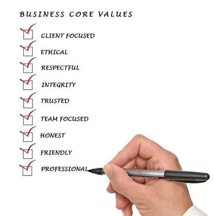 Our commercial cleaning core values chart