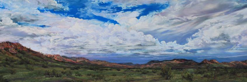 Sky Weavings Davis Mts pastel landscape painting by Texas artist Lindy Cook Severns
