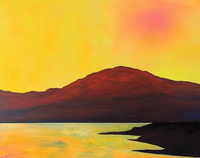 Yellow Sky Pink Sun 2020. 80x100cm. Acrylic on Canvas. Malaga Andalucia Landscape Painting by Orfhlaith Egan, Berlin.