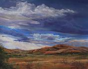Afternoon Showers, plein aire pastel by Texas artist Lindy C Severns, Old Spanish Trail Studio, Fort Davis, TX. Ranchland before a rain.