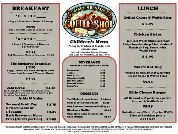 Kids, Children, Food, Menu, Restaurant, Diner, Black Mountain Coffee Shop Carefree, AZ 85377, 85331