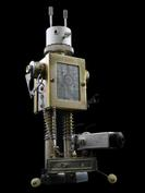 retro robot sculpture art dog