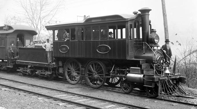 Camelback inspection locomotive of Delaware, Lackawanna and Western Railroad, circa 1900.