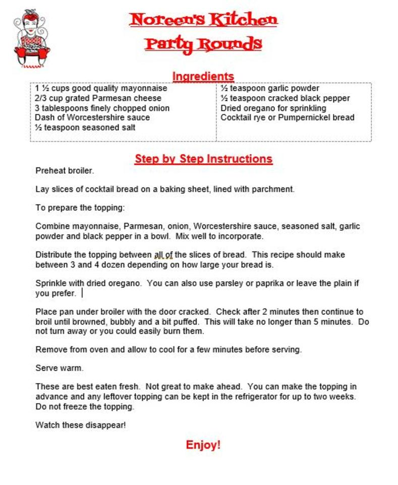 Party Rounds Recipe, Noreen's Kitchen