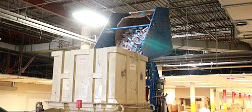The shredder is capable of handling many materials, such as, books, office paper, plastics and other grades of scrap.