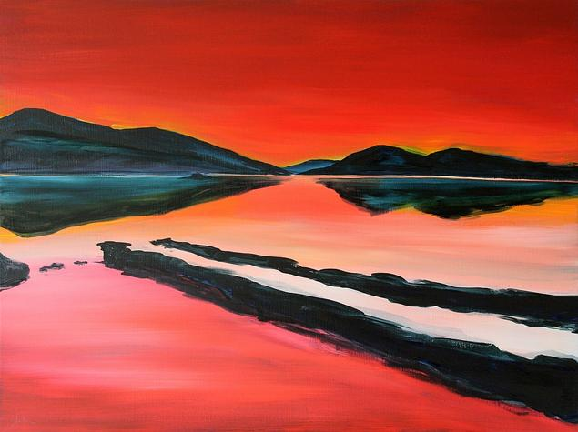 South Shore Dooras Peninsula 2020. 60x80cm. Acrylic on canvas. Cornamona Landscape Painting by Orfhlaith Egan.