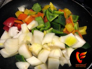 Peppers and Onions Preparing to be Seared-Chef of the Future-Your Source for Quality Seasoning Rubs