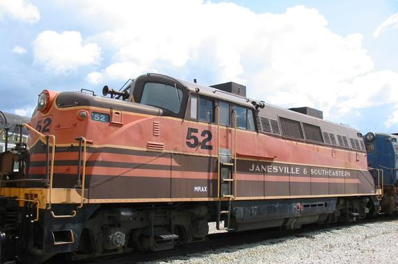 Janesville & Southeastern No. 52 at the National Railroad Museum. It is now operating as Saratoga and North Creek Railway No. 52.