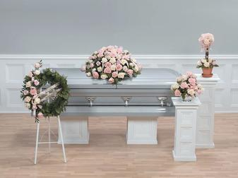 NB-AFD-CTT70 Coordinated Floral display as pictured (4 pieces) Casket spray, Wreath spray, Topiary arrangement, Vase arrangement $795.00