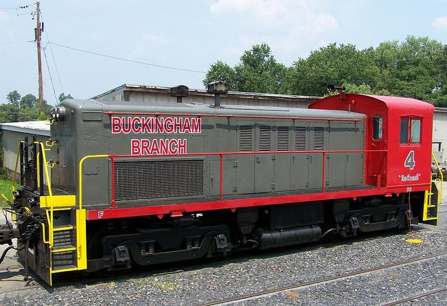 A Whitcomb RSTC4 locomotive of the Buckingham Branch Railroad, Dillwyn, Virginia. Photo by William J Grimes.