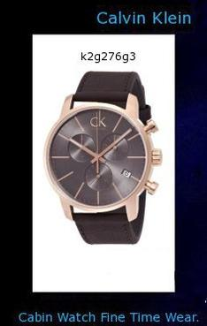 Watch Information Brand, Seller, or Collection Name Calvin Klein Model number K2G276G3 Part Number K2G276G3 Item Shape Round Dial window material type Mineral Display Type Analog Case material Plated Stainless Steel Case diameter 43 millimeters Case Thickness 11 Band Material Leather Band width 22 centimeters Dial color Grey Calendar Date Special features Chronograph Movement Swiss Quartz Water resistant depth 50 Meters,calvin klein canada