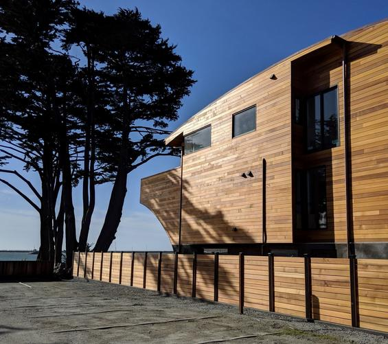 Clear, Vertical Grain Western Red Cedar boards used as fencing around this luxury property in Half Moon Bay,CA