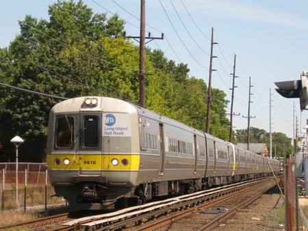 Budd M1/M3 Railcars on Long Island Rail Road train No. 2820, departing Cedarhurst Station en route to Far Rockaway, Sept. 2, 2008.