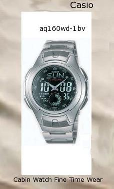 Watch Information Brand, Seller, or Collection Name Casio Model number AQ160WD-1BV Part Number AQ160WD-1BV Model Year 2013 Item Shape Round Dial window material type Mineral Display Type Analog and digital Clasp Fold-Over Clasp with Double Push-Button Safety Case material Stainless steel Case diameter 43 millimeters Case Thickness 16 millimeters Band Material Stainless steel Band length mens Band width 20 millimeters Band Color Silver Dial color Black Bezel material Stainless steel Bezel function Stationary Calendar Day, date, and month Special features alarm-feature, Water Resistant Movement Quartz Water resistant depth 330 Feet