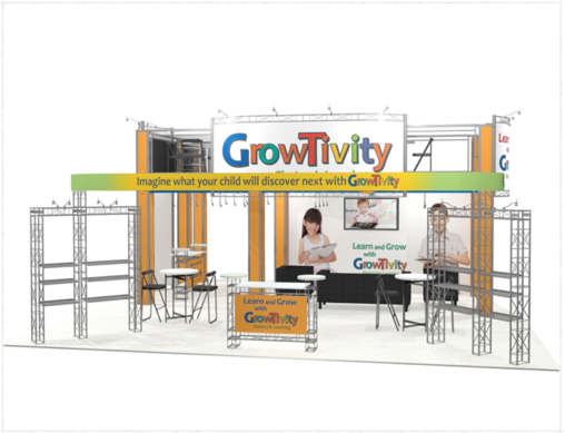 Growtivity 30 x 30 double deck trade show exhibit front view.