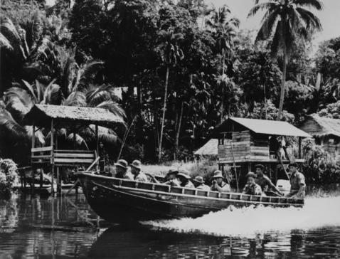 Gurkhas in Borneo on riverine operations