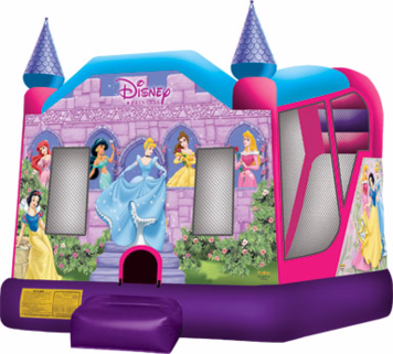 4 in 1 Princess combo c-4 This licensed Disney Princess 2 Combo C4 inflatable jumper injects the latest in fairytale fantasy to any event or Party Rental. Each participant is welcomed by Ariel, Cinderella, Tiana, Belle, Jasmine, Aurora and Snow White, dressed in their princess best! Visitors will engage in enchanting play inside this inflatable jumper with one of four activities, including a fantastic wet or dry slide. This Disney Princess 2 Combo C4 inflatable jumper is a perfect fit for a princess birthday or any large event and is part of a line of Disney Princess 2 products, with jumps, combos and a 3D combo bounce house.
