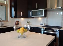 Modern dark wood kitchen cabinets Los Alamitos