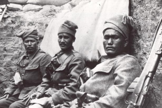 Soldiers from the 6th Gurkhas, one of the RGR's antecedent regiments, during the Gallipoli Campaign (1915 to 1916)