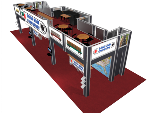 Gina rail 20 x 60 double deck trade show booth top view.