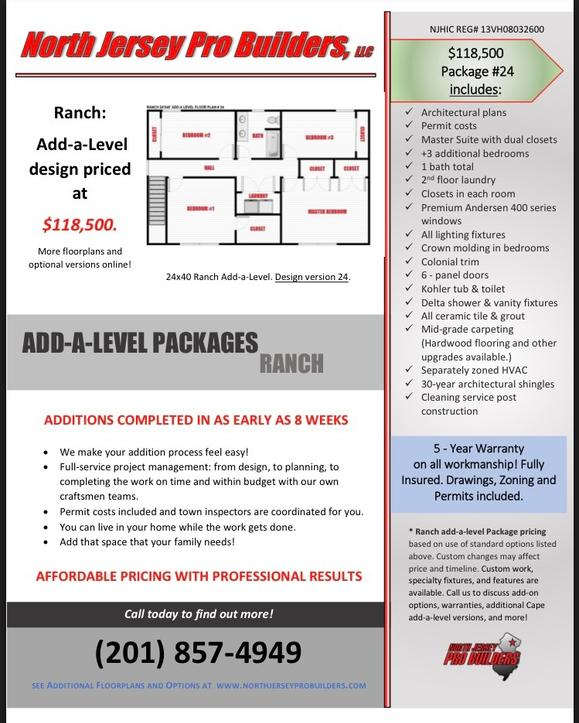 North Jersey Pro Builders | Ranch add-a-level floor plan 24