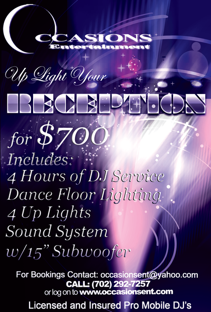 "FOR DISCOUNT, TYPE ""UPLIGHT YOUR RECEPTION"""