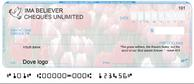 Christian personal cheque 1/4 designs: tulips, dove logo, Bible scripture verse.