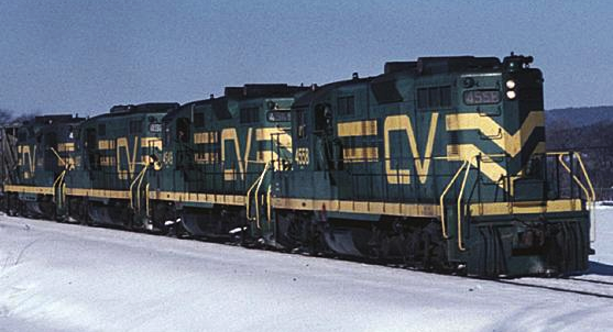 EMD GP9 locomotives of the Central Vermont Railway, January 14, 1994.