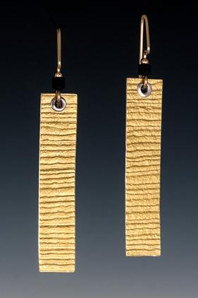 Carol Holaday - Gold Ribbon earrings - 23k keys-boo