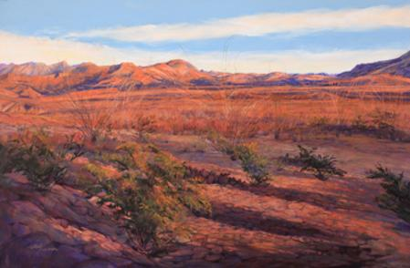Ribbons of Sunset, a large Big Bend National Park pastel painting by Texas artist Lindy Cook Severns. Late afternoon reds and violets in the park. Old Spanish Trail Studio, Fort Davis TX