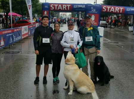 Alain, Monica, Rose, Bob, and the dogs at the Support Houston's Diabetes's Association Marathon
