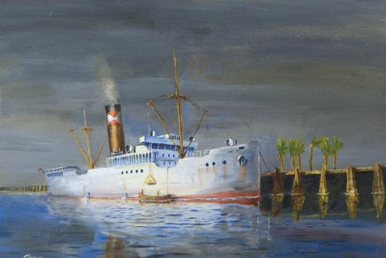 steam ship oil painting refrigerated ship bananas