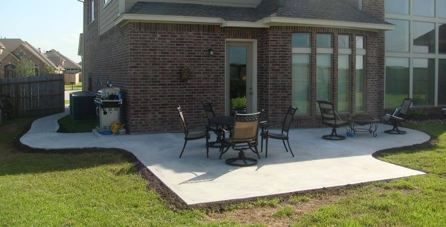 image of new installed concrete patio construction