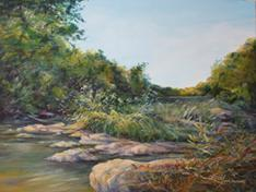 Island of Dragonflies, oil landscape painting by Texas artist Lindy Cook Severns