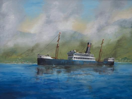steam ship oil painting Martinique